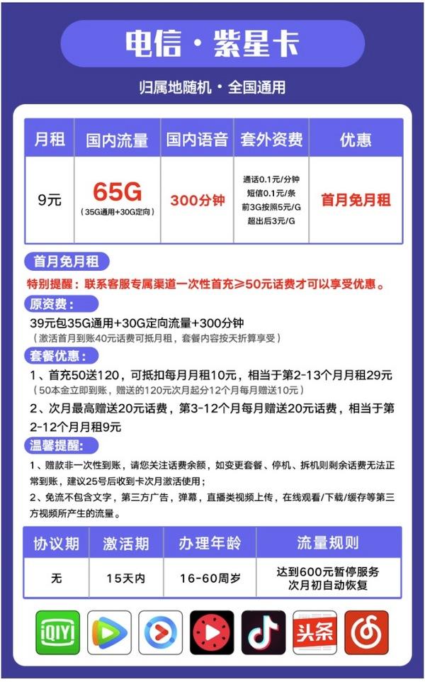 CHINA TELECOM 中国电信 福利卡(9元月租,35G通用+30G定向+300分钟通话)
